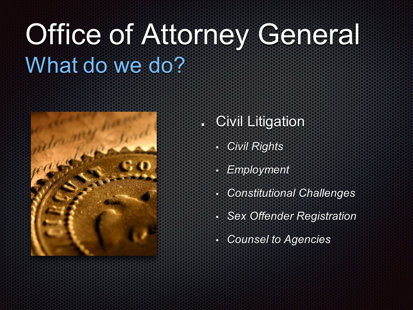 Office of Attorney General What do we do? Civil Litigation Civil Rights Civil Rights Employment Employment Constitutional Challenges Constitutional Ch