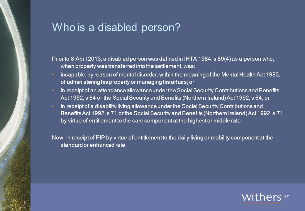 Who is a disabled person.