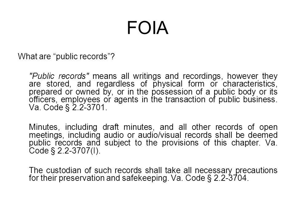 "FOIA What are ""public records""?"