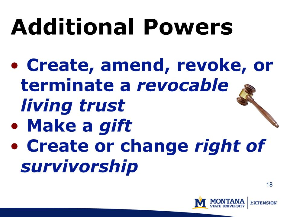 18 Additional Powers Create, amend, revoke, or terminate a revocable living trust Make a gift Create or change right of survivorship