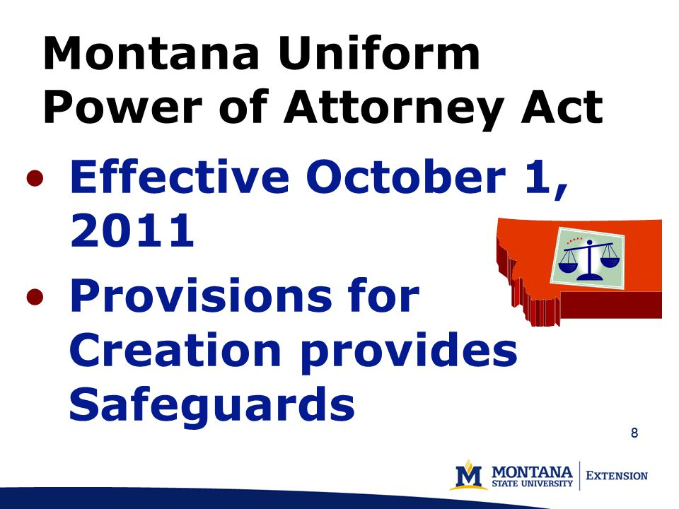 99 Form Montana Statutory Power of Attorney Agent's Certification as to the Validity of Power of Attorney and Agent's Authority