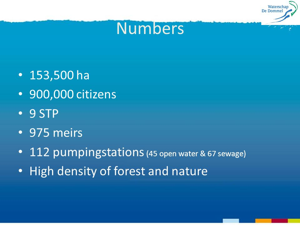 Numbers 153,500 ha 900,000 citizens 9 STP 975 meirs 112 pumpingstations (45 open water & 67 sewage) High density of forest and nature