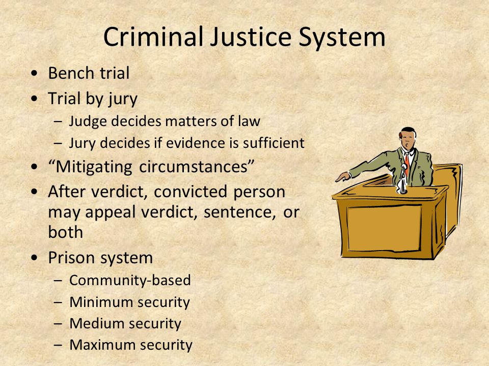 Criminal Justice System Bench trial Trial by jury –Judge decides matters of law –Jury decides if evidence is sufficient Mitigating circumstances After verdict, convicted person may appeal verdict, sentence, or both Prison system –Community-based –Minimum security –Medium security –Maximum security