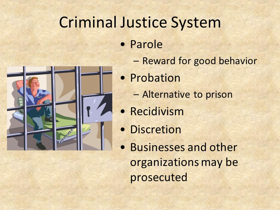 Criminal Justice System Parole –Reward for good behavior Probation –Alternative to prison Recidivism Discretion Businesses and other organizations may be prosecuted
