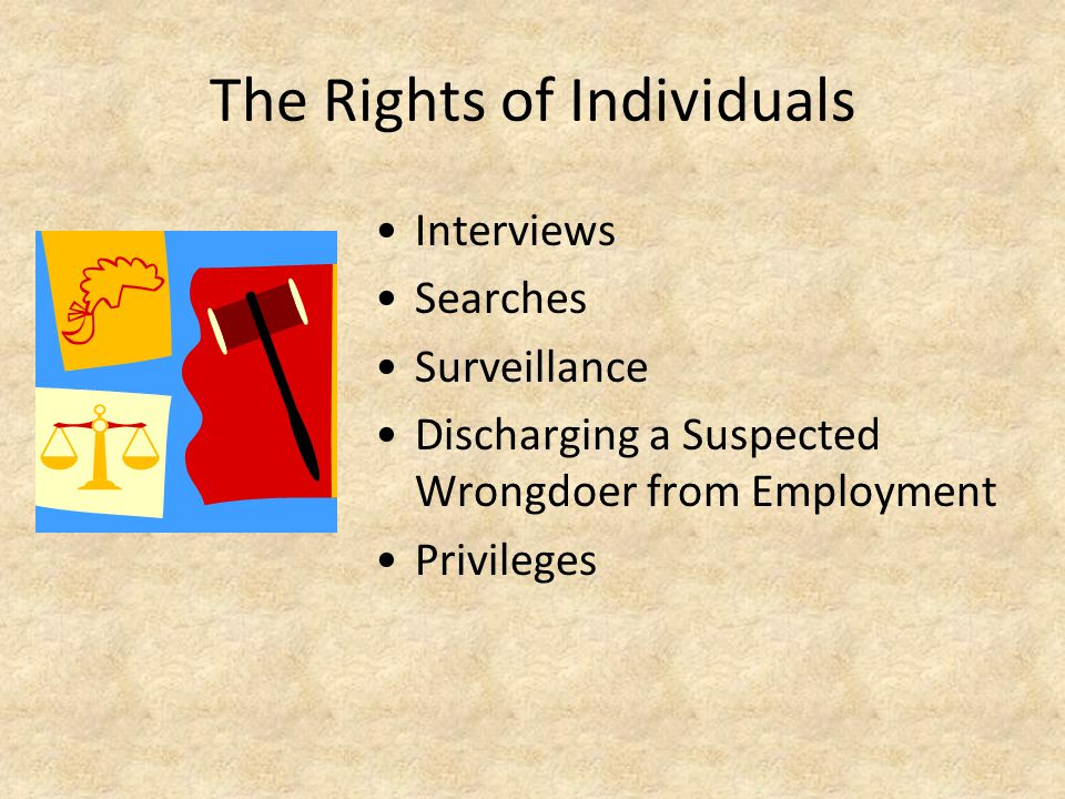 The Rights of Individuals Interviews Searches Surveillance Discharging a Suspected Wrongdoer from Employment Privileges