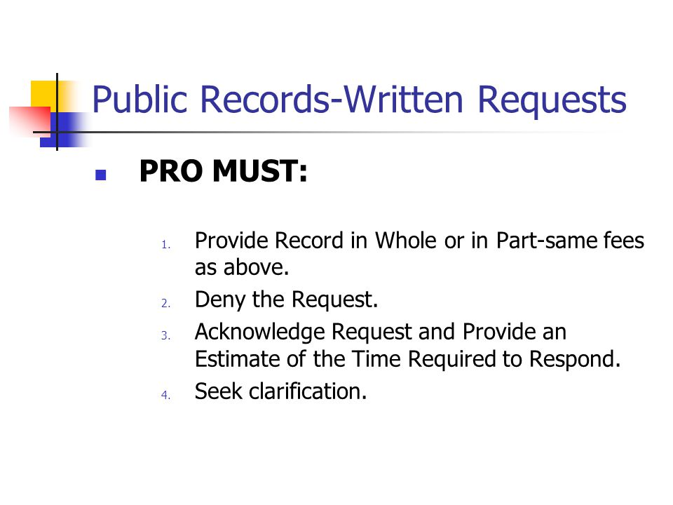Public Records-Written Requests PRO MUST: 1. Provide Record in Whole or in Part-same fees as above.