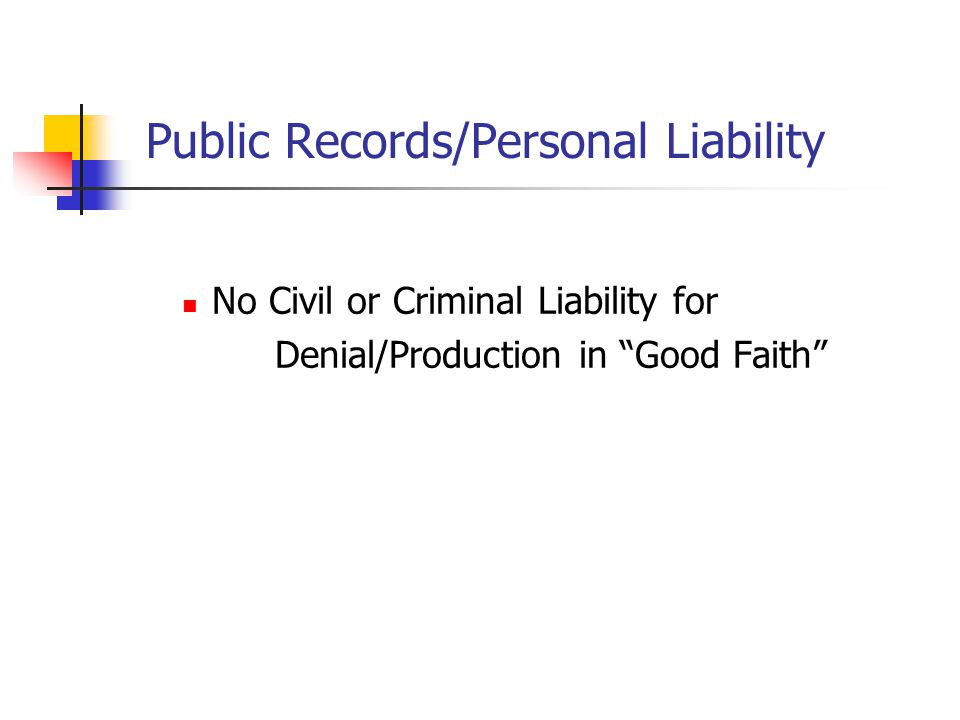 Public Records/Personal Liability No Civil or Criminal Liability for Denial/Production in Good Faith
