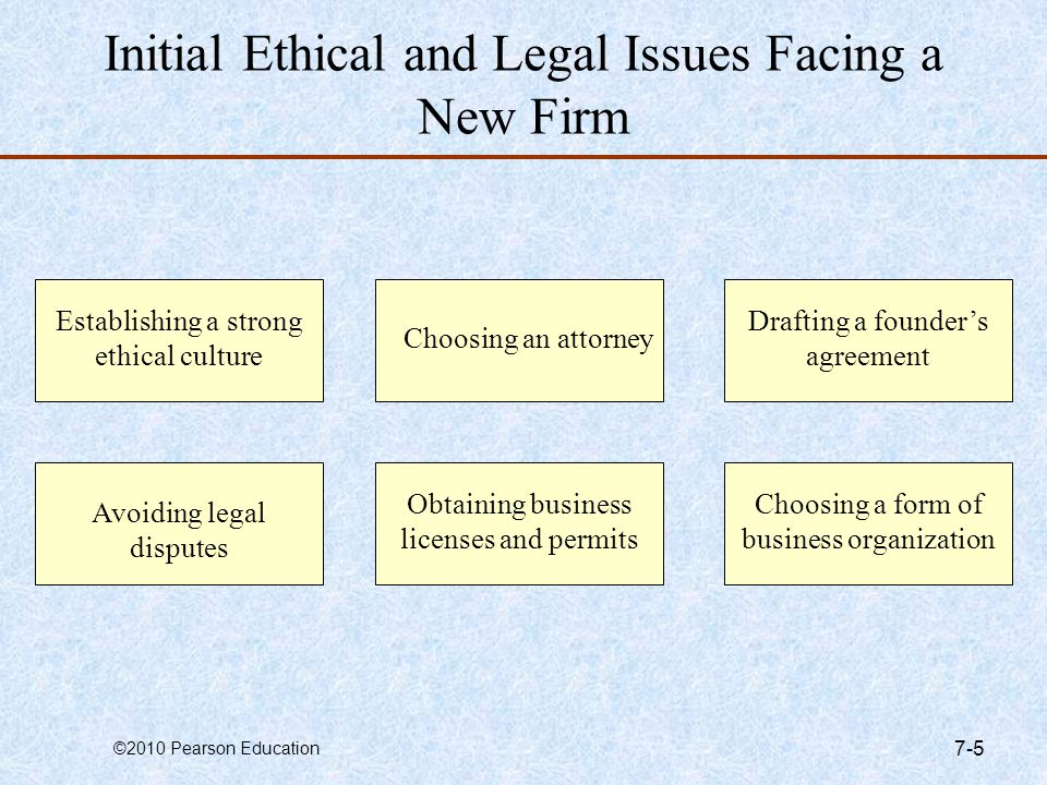 ©2010 Pearson Education 7-5 Initial Ethical and Legal Issues Facing a New Firm Establishing a strong ethical culture Choosing an attorney Avoiding leg