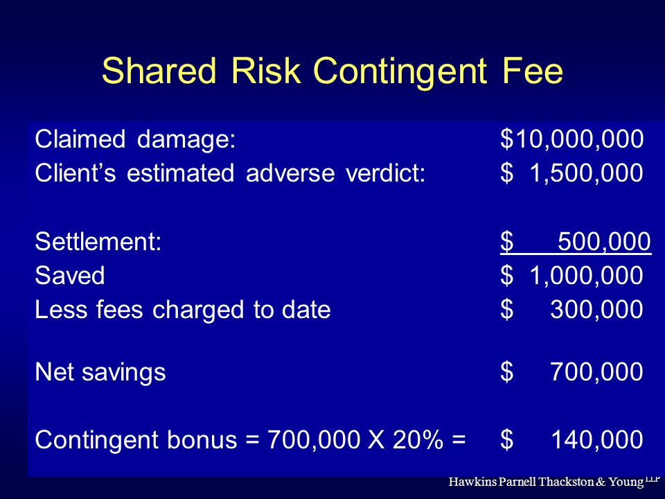 Hawkins Parnell Thackston & Young LLP Shared Risk Contingent Fee Claimed damage: $10,000,000 Client's estimated adverse verdict: $ 1,500,000 Settlement: $ 500,000 Saved$ 1,000,000 Less fees charged to date$ 300,000 Net savings$ 700,000 Contingent bonus = 700,000 X 20% = $ 140,000