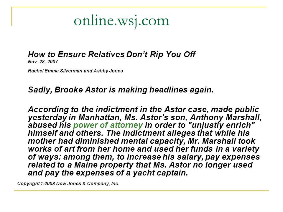 online.wsj.com How to Ensure Relatives Don't Rip You Off Nov.