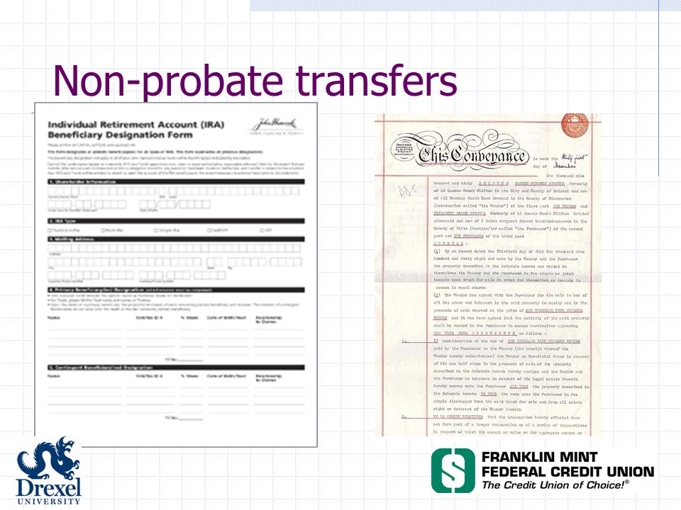A typical estate plan: Nonprobate Transfers Beneficiary: Trustee of T's Revocable Trust Pour-Over Will Donor Revocable Trust Residuary Beneficiary: Trustee of T's Revocable Trust Transfer of Assets