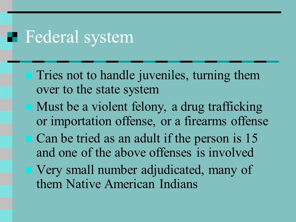 Federal system Tries not to handle juveniles, turning them over to the state system Must be a violent felony, a drug trafficking or importation offens