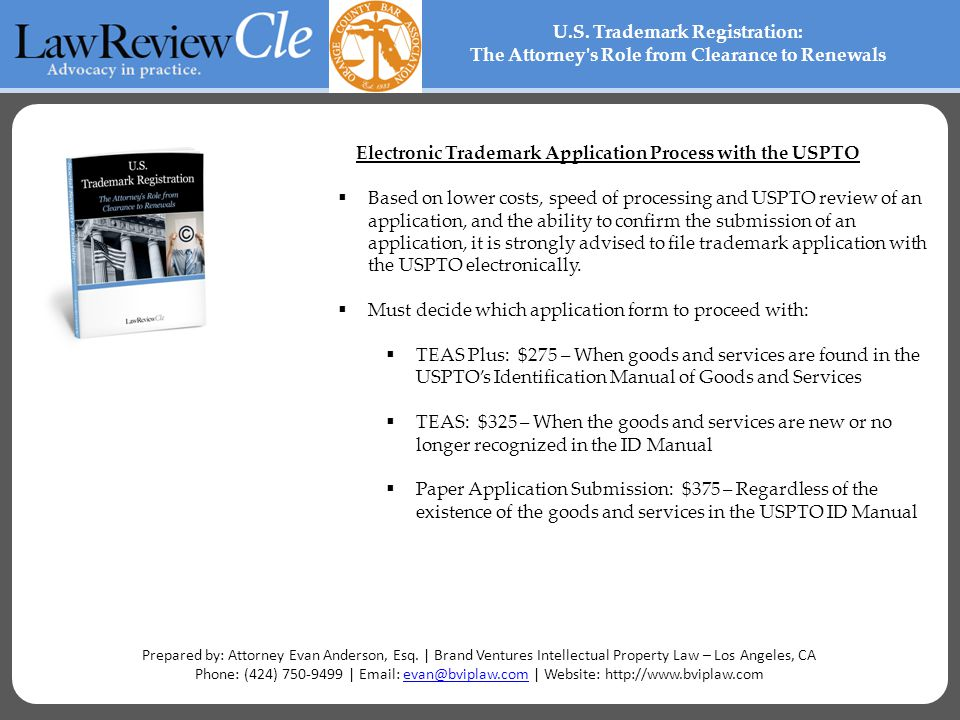 Electronic Trademark Application Process with the USPTO  Based on lower costs, speed of processing and USPTO review of an application, and the ability to confirm the submission of an application, it is strongly advised to file trademark application with the USPTO electronically.