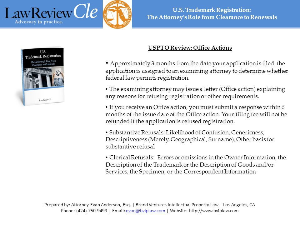 USPTO Review: Office Actions Approximately 3 months from the date your application is filed, the application is assigned to an examining attorney to determine whether federal law permits registration.