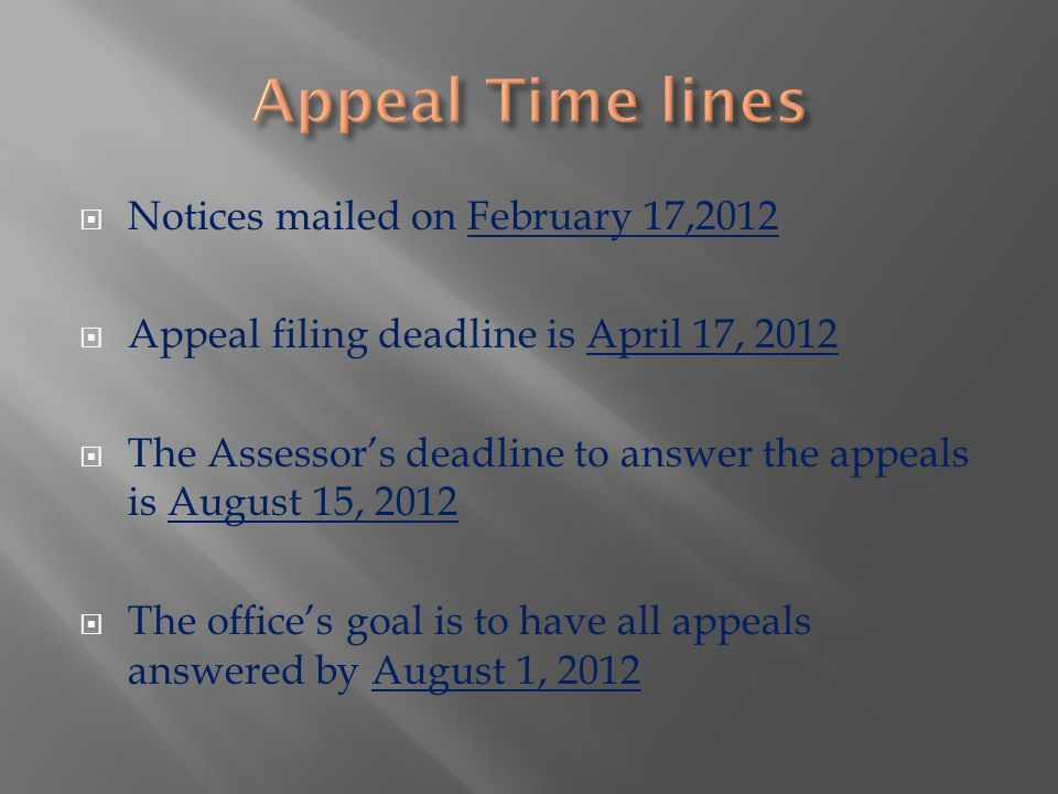  Notices mailed on February 17,2012  Appeal filing deadline is April 17, 2012  The Assessor's deadline to answer the appeals is August 15, 2012  The office's goal is to have all appeals answered by August 1, 2012
