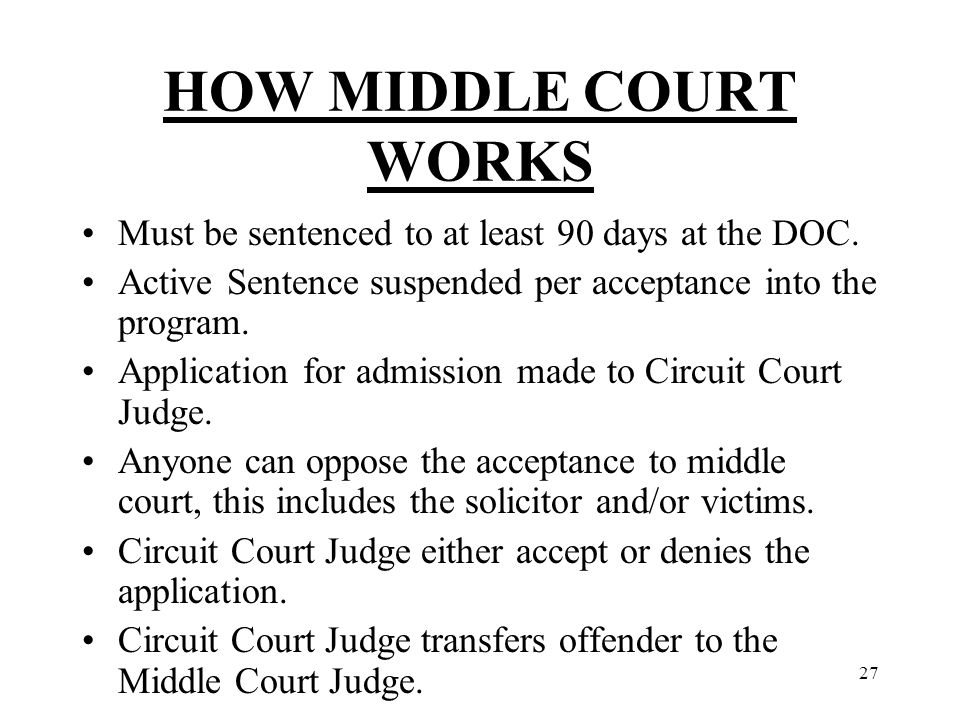 27 HOW MIDDLE COURT WORKS Must be sentenced to at least 90 days at the DOC.