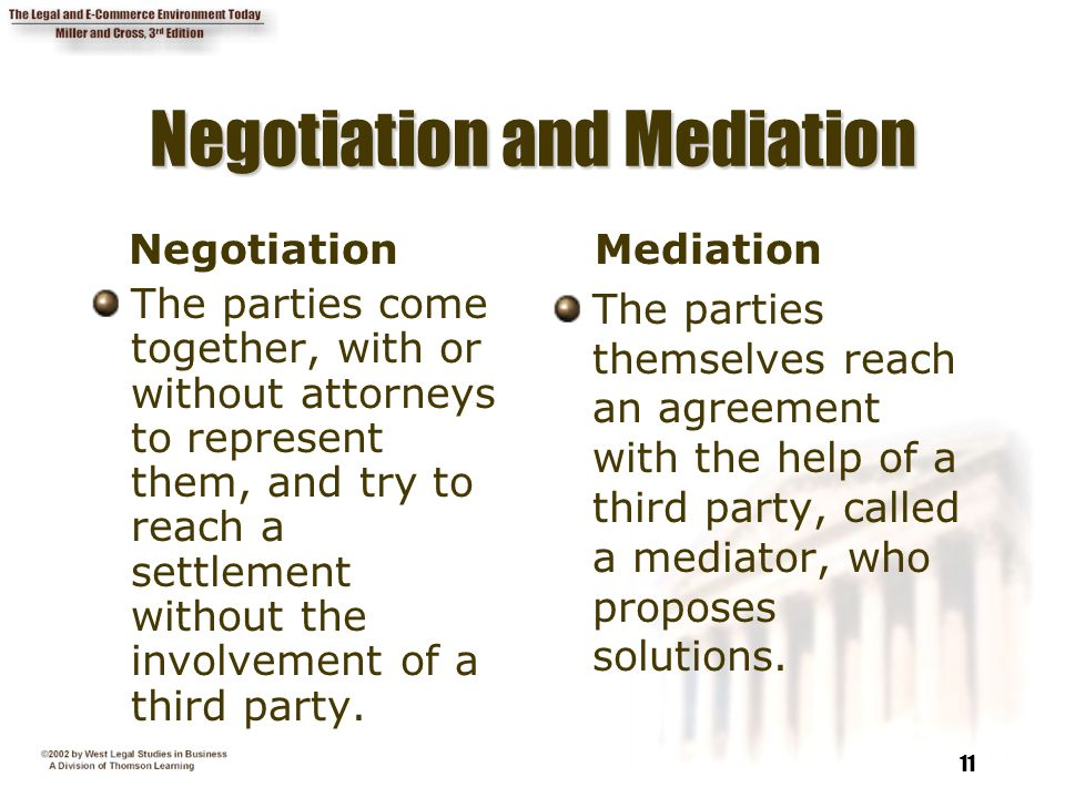 11 Negotiation and Mediation Negotiation The parties come together, with or without attorneys to represent them, and try to reach a settlement without the involvement of a third party.