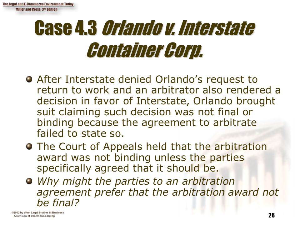 26 Case 4.3 Orlando v. Interstate Container Corp.