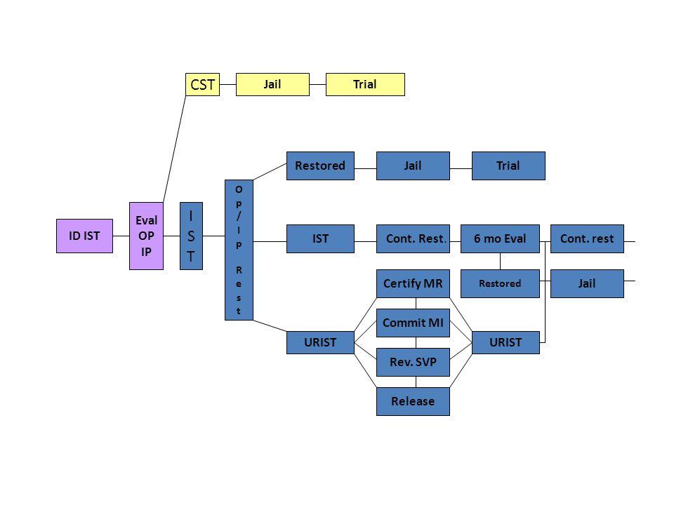 ID IST Eval OP IP CST Op/IpRestOp/IpRest JailTrial RestoredJail IST Cont.