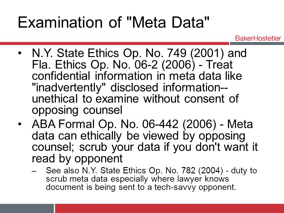 Examination of Meta Data N.Y. State Ethics Op. No.