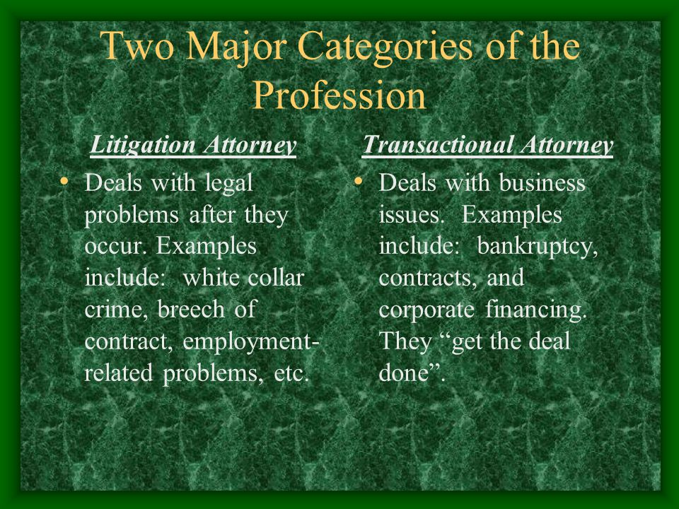 Two Major Categories of the Profession Litigation Attorney Deals with legal problems after they occur.