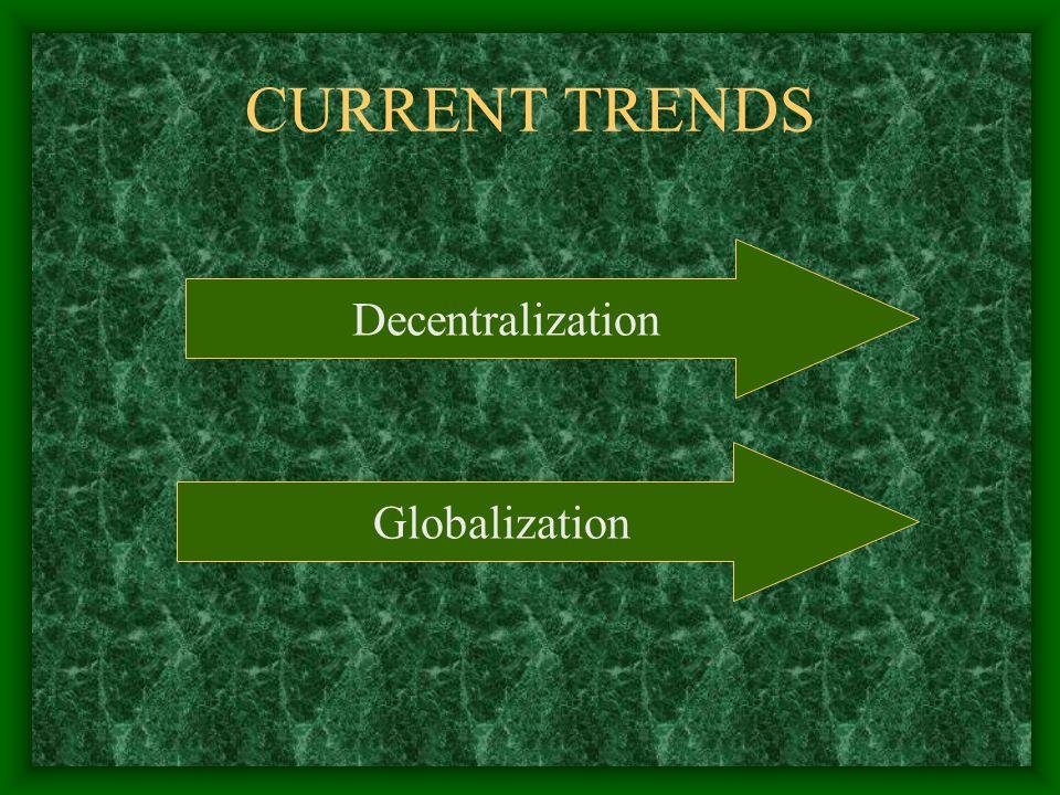 CURRENT TRENDS Decentralization Globalization