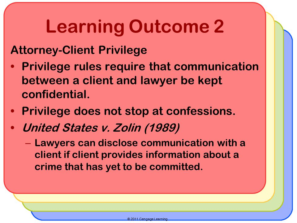 © 2011 Cengage Learning Learning Outcome 2 Attorney-Client Privilege Privilege rules require that communication between a client and lawyer be kept confidential.