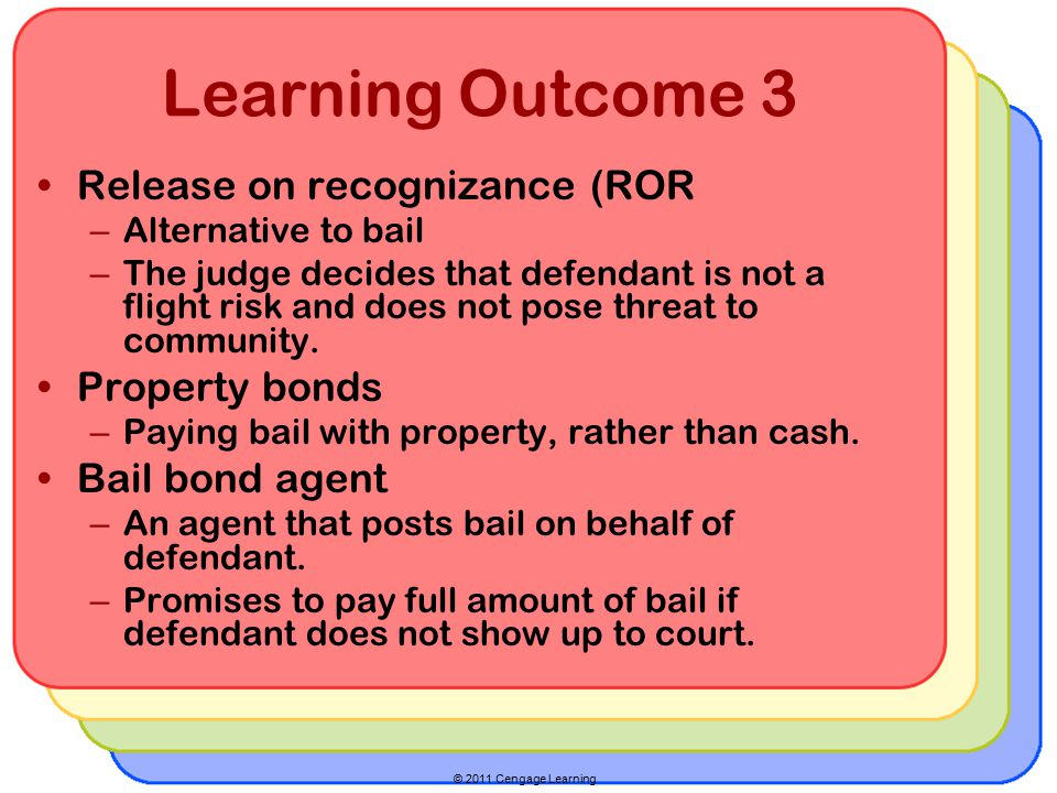 © 2011 Cengage Learning Learning Outcome 3 Release on recognizance (ROR – Alternative to bail – The judge decides that defendant is not a flight risk and does not pose threat to community.