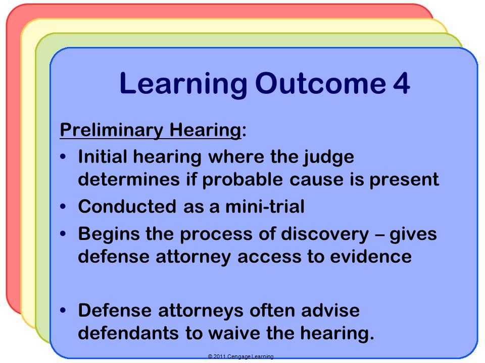 © 2011 Cengage Learning Learning Outcome 4 Preliminary Hearing: Initial hearing where the judge determines if probable cause is present Conducted as a mini-trial Begins the process of discovery – gives defense attorney access to evidence Defense attorneys often advise defendants to waive the hearing.