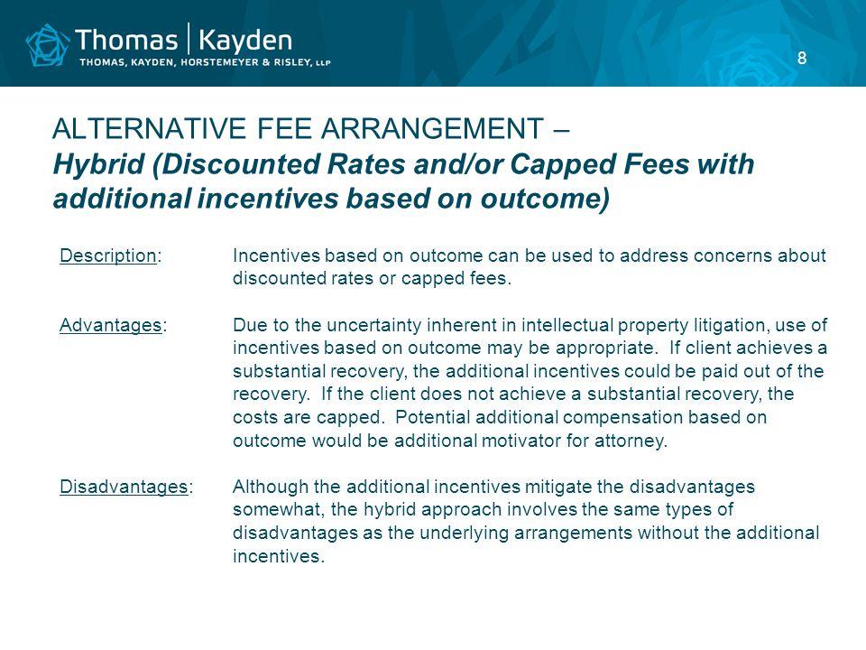 9 ALTERNATIVE FEE ARRANGEMENT – Contingent Fees Description:Attorney's compensation is contingent on results achieved.