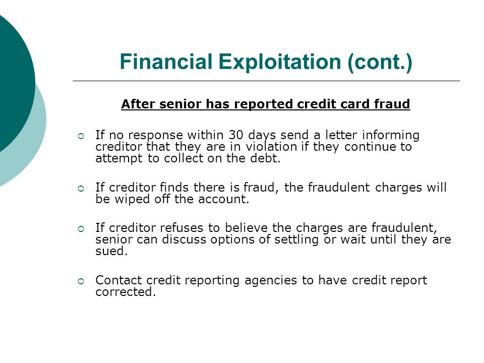 Financial Exploitation (cont.) Criminal Action 18 Pa.C.S.A.