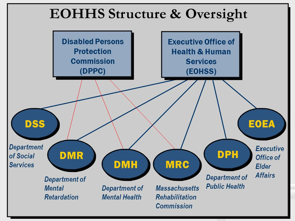 EOHHS Structure & Oversight EOEADSS Department of Mental Health Massachusetts Rehabilitation Commission Department of Mental Retardation Department of