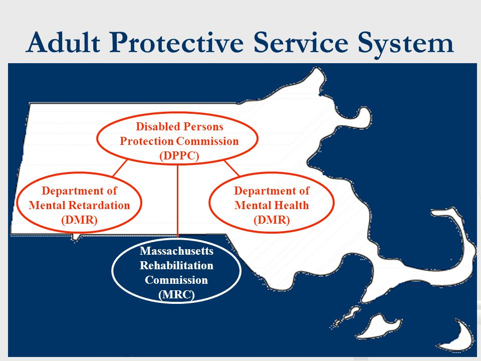 Adult Protective Service System Disabled Persons Protection Commission (DPPC) Department of Mental Retardation (DMR) Department of Mental Health (DMR)