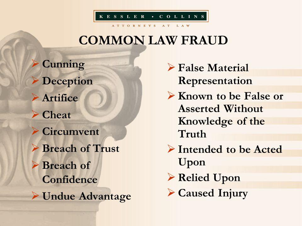 COMMON LAW FRAUD  Cunning  Deception  Artifice  Cheat  Circumvent  Breach of Trust  Breach of Confidence  Undue Advantage  False Material Rep