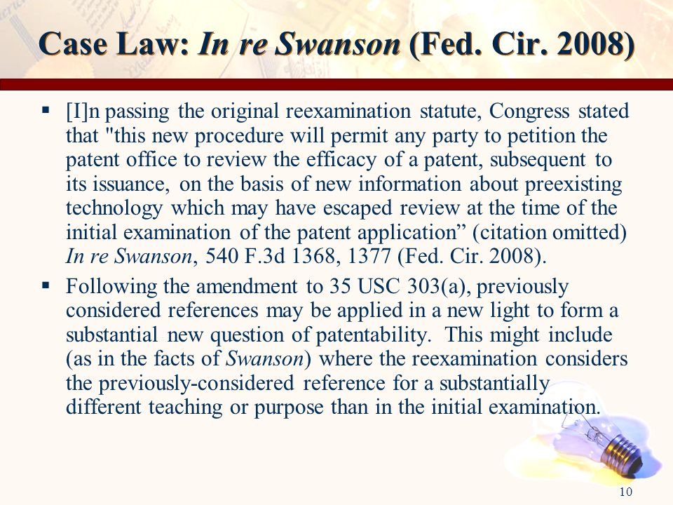 10 Case Law: In re Swanson (Fed. Cir.