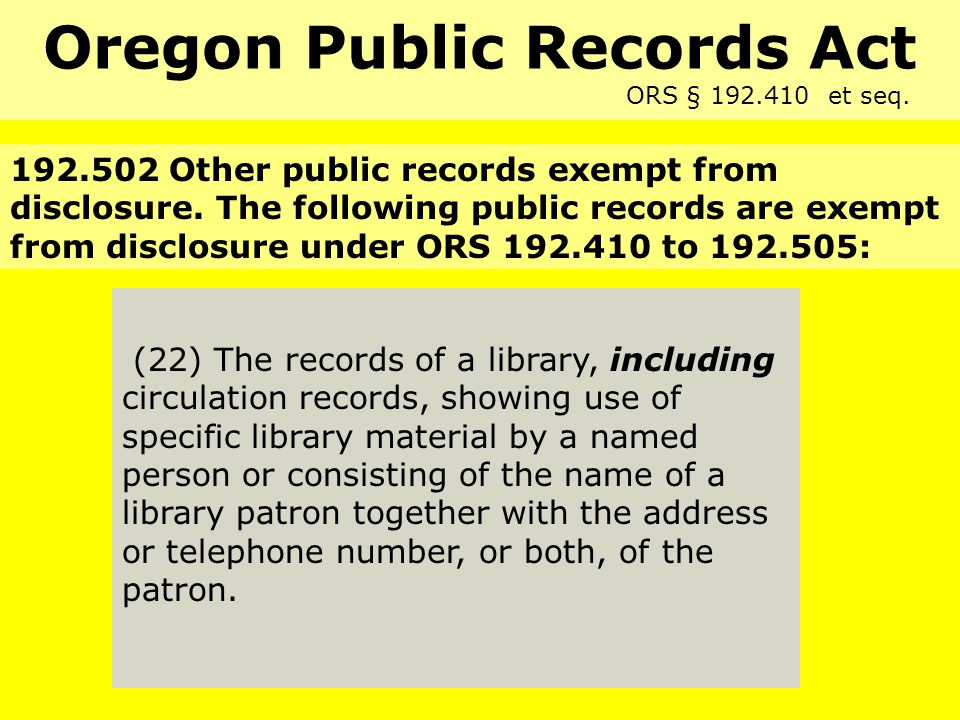State Law (22) The records of a library, including circulation records, showing use of specific library material by a named person or consisting of the name of a library patron together with the address or telephone number, or both, of the patron.