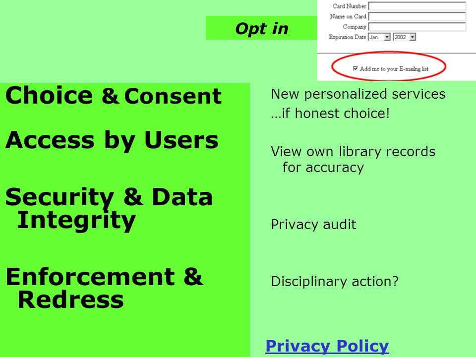 Choice & Consent Access by Users Security & Data Integrity Enforcement & Redress New personalized services …if honest choice.