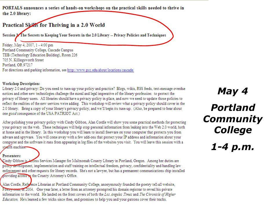 May 4 Portland Community College 1-4 p.m.