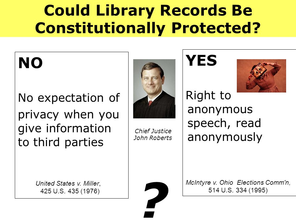 Could Library Records Be Constitutionally Protected.