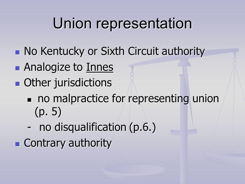 Union representation No Kentucky or Sixth Circuit authority No Kentucky or Sixth Circuit authority Analogize to Innes Analogize to Innes Other jurisdi