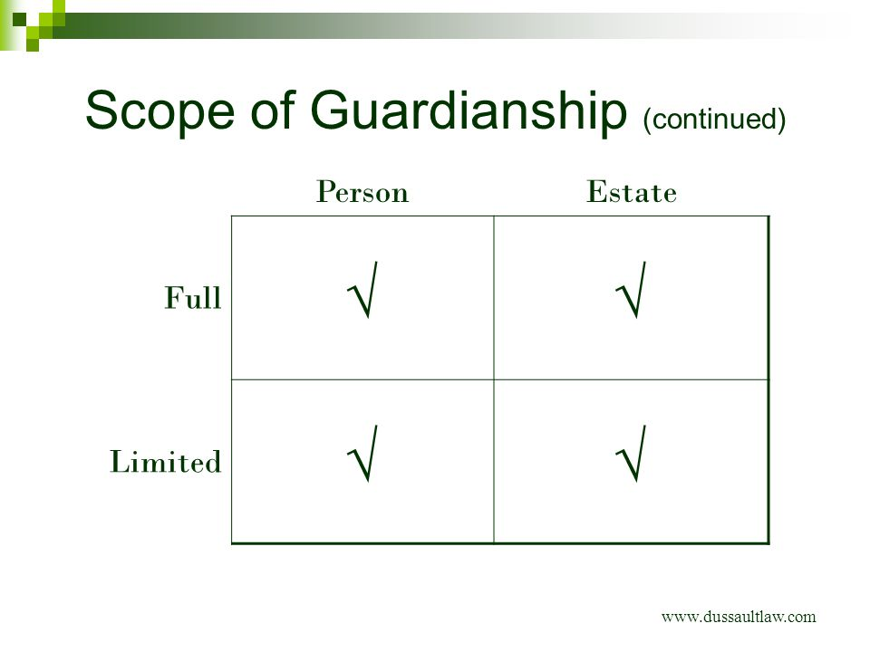 Scope of Guardianship (continued) www.dussaultlaw.com PersonEstate Full √√ Limited √√