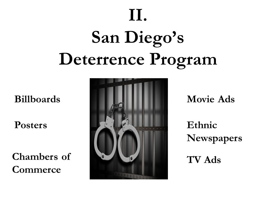 II. San Diego's Deterrence Program Billboards Posters Movie Ads Ethnic Newspapers Chambers of Commerce TV Ads