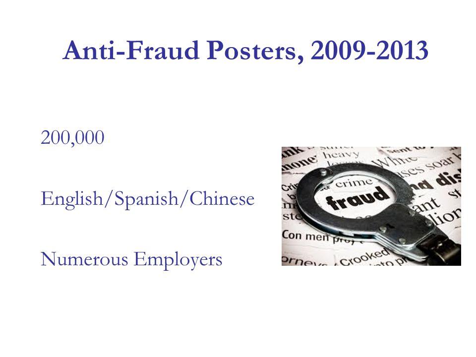 Anti-Fraud Posters, 2009-2013 200,000 English/Spanish/Chinese Numerous Employers