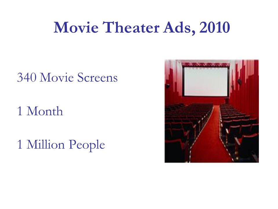 Movie Theater Ads, 2010 340 Movie Screens 1 Month 1 Million People