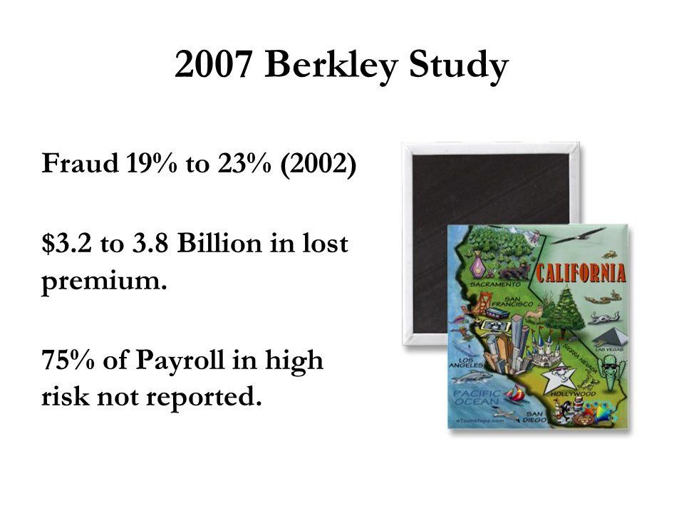 2007 Berkley Study Fraud 19% to 23% (2002) $3.2 to 3.8 Billion in lost premium.