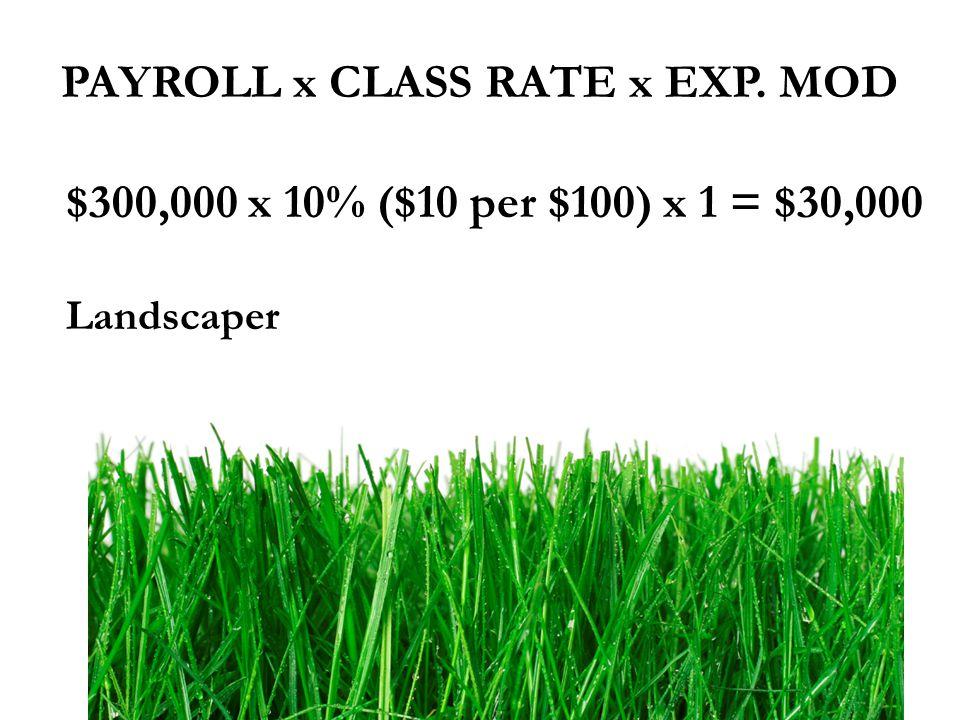 $300,000 x 10% ($10 per $100) x 1 = $30,000 Landscaper PAYROLL x CLASS RATE x EXP. MOD