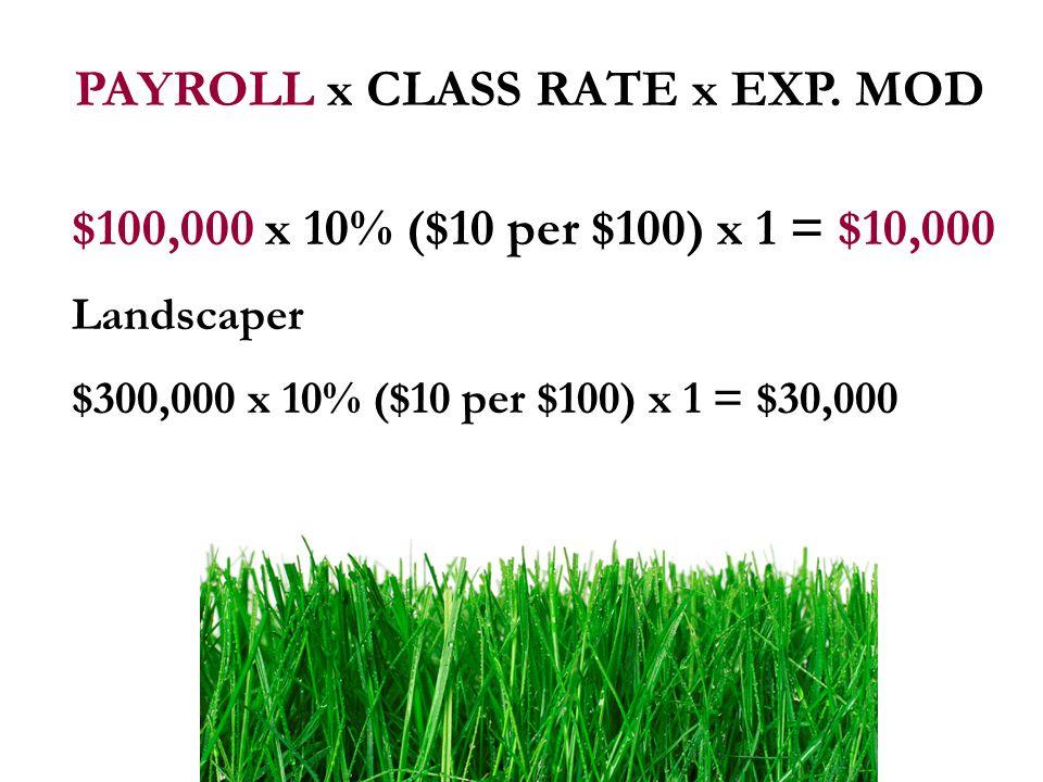 $100,000 x 10% ($10 per $100) x 1 = $10,000 Landscaper $300,000 x 10% ($10 per $100) x 1 = $30,000
