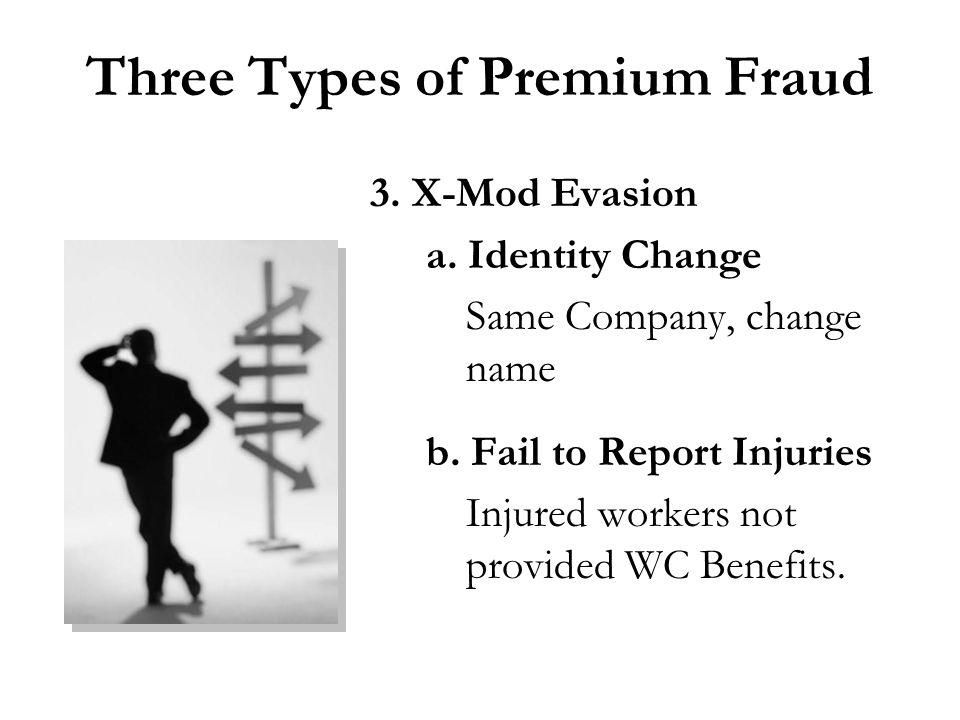 Three Types of Premium Fraud 3. X-Mod Evasion a. Identity Change Same Company, change name b.