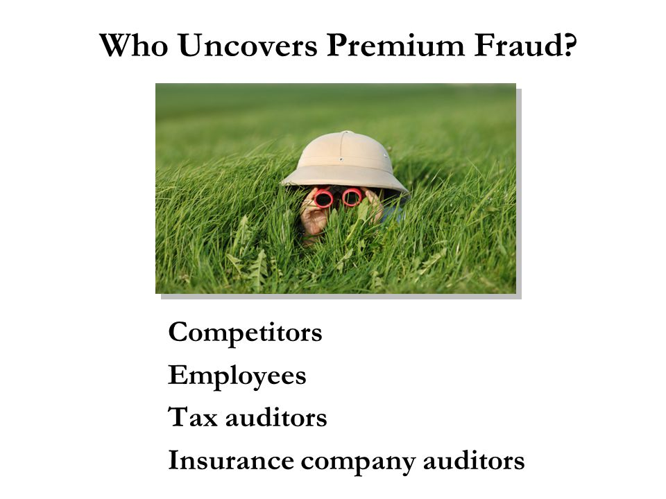 Who Uncovers Premium Fraud? Competitors Employees Tax auditors Insurance company auditors