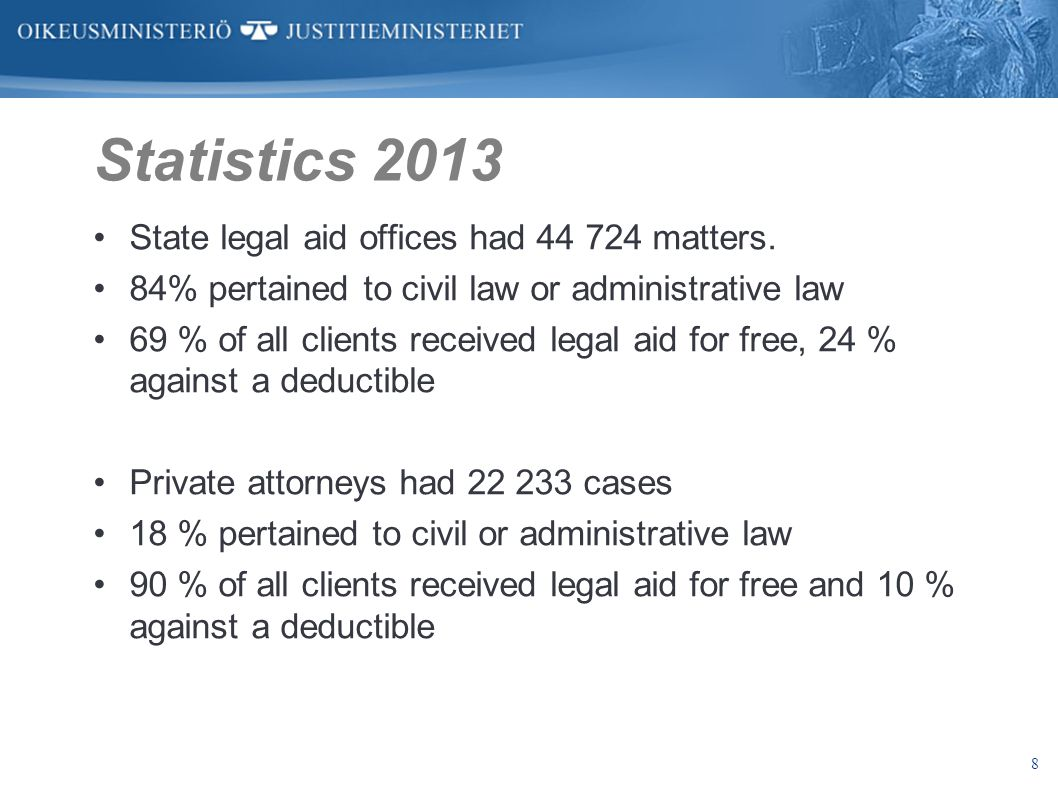 8 Statistics 2013 State legal aid offices had 44 724 matters. 84% pertained to civil law or administrative law 69 % of all clients received legal aid